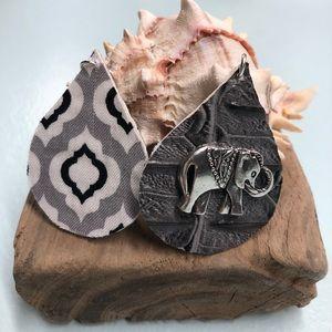 Faux leather Elephant earrings